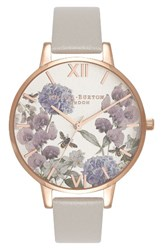Olivia Burton Women's Parlour Leather Strap Watch 38Mm Grey Floral Rose Gold