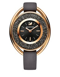 Swarovski 18K Rose Gold Plated Chronograph Crystalline Oval Watch Black