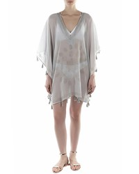Flora Bella Haven V Neck Short Kaftan W Fringe Oyster