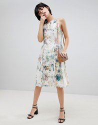Paisie Floral Keyhole Dress With Gathered Waist Multi Floral