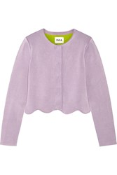 Issa Millie Scalloped Stretch Knit Jacket Purple