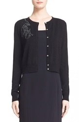 Nordstrom Signature And Caroline Issa 'Galaxia' Beaded Metallic Merino Wool Cardigan Black