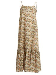 Loup Charmant Kalahair Floral Print Cotton Maxi Dress Brown Multi