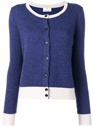 Allude Colour Block Cardigan Blue