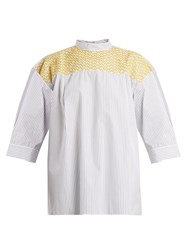 Jupe By Jackie Chao Yoke Embroidered Striped Cotton Top White Stripe