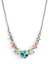 Sorrelli Delicate Round Crystal Necklace Aqua Pink Green