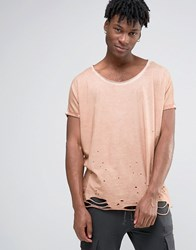 Asos Super Oversized T Shirt With Distressing And Roll Sleeves And Scoop Neck In Tan Bandage