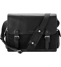 Aspinal Of London Shadow Large Leather Messenger Bag Black