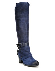 Fergie Total Leather Knee High Boots Navy Blue