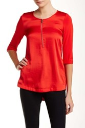 Vince Camuto 3 4 Length Sleeve Half Zip Tunic Blouse Petite Red