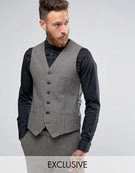 Heart And Dagger Skinny Waistcoat In Dogstooth Brown
