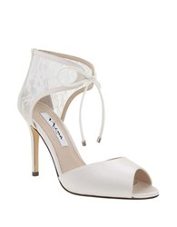 Nina Malini Lace And Mesh Peep Toe Stilettos Ivory