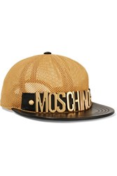 Moschino Leather Trimmed Mesh Cap Gold