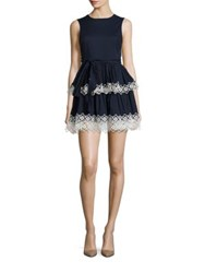 Alexis Desiree Tiered Lace Trim Dress Navy Blue
