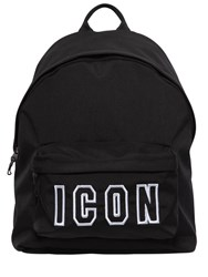 Dsquared Icon Frame Nylon Backpack Black White