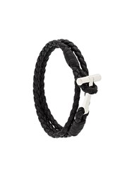 Tom Ford Woven Leather String Bracelet Black