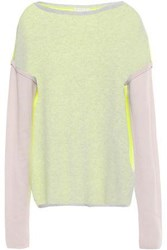 Duffy Woman Color Block Cashmere Sweater Light Gray