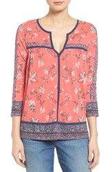Lucky Brand Women's Contrast Piped Floral Border Top