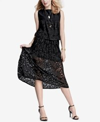 Rachel Roy Pleated Lace Midi Skirt Only At Macy's Black