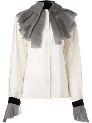 Gianfranco Ferre Vintage Pleated Collar And Cuffs Shirt Nude And Neutrals