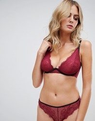 Wolf And Whistle High Apex Exposed Wire Lace Bra In Burgundy Purple