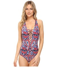 Michael Michael Kors Angelina Lace Up Cross Back One Piece Red Blaze Women's Swimsuits One Piece