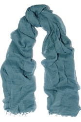 Donna Karan Cotton Gauze Scarf Blue