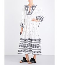 Zimmermann Divinity Peacock Embroidered Linen Midi Dress Natural