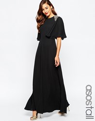 Asos Tall Embellished Shoulder Flutter Sleeve Maxi Dress Black