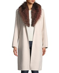 Neiman Marcus Luxury Open Front Cashmere Coat W Fox Fur Collar Buff