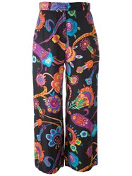 Moschino Vintage Floral Print Palazzo Pants Black