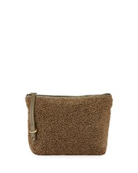 Kelsi Dagger Commuter Faux Shearling Evening Clutch Bag Olive Multi