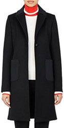 Paco Rabanne Single Button Wool Blend Coat Black