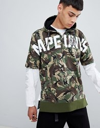 Aape By A Bathing Ape Short Sleeve Hoodie With Logo In Camo Green