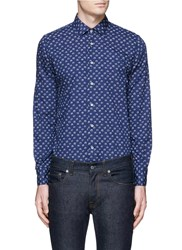 Lardini Floral Print Cotton Poplin Shirt Blue