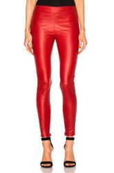 Saint Laurent Shiny Stretch Leather Leggings In Red