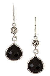 Lois Hill Sterling Silver Faceted Black Onyx Teardrop Earrings