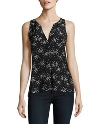 Sanctuary Floral Print Sleeveless Blouse Black Petal