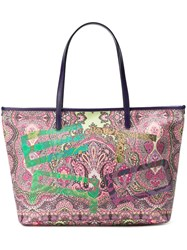 Etro Abstract Print Shoulder Bag Pink And Purple