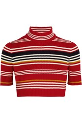 Alessandra Rich Cropped Striped Merino Wool Top Red