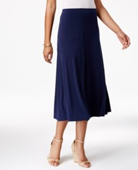 Jm Collection Petite Diagonal Seam Midi Skirt Only At Macy's Intrepid Blue
