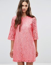 Darling 3 4 Sleeve Lace Shift Dress Bright Pink