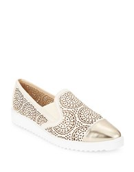 Karl Lagerfeld Cora Cutout Metallic Leather Slip On Sneakers Gold