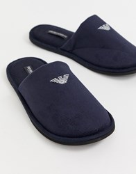 Emporio Armani Logo Slippers In Navy