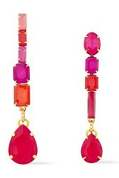 Elizabeth Cole Woman 24 Karat Gold Plated Crystal Earrings Multicolor