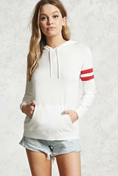 Forever 21 Contemporary Hooded Sweater Ivory Red
