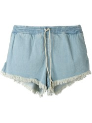 Chloe Bleached Denim Drawstring Shorts Blue