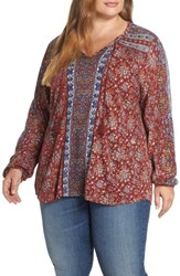 Lucky Brand Plus Size Print Tunic Red Multi