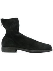 Guidi Reverse Back Zip Boots Black