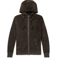 Tom Ford Cotton Blend Velvet Zip Up Hoodie Army Green